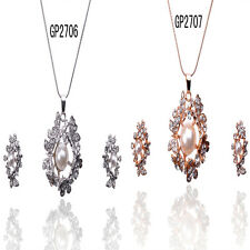 Women 14K Gold Filled Crystal Butterfly Necklace Earrings Jewelry Set In 2 Color
