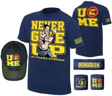 John Cena Kids Blue Ten Years Strong Costume Hat T-shirt Wristbands Boys