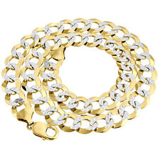 Real 10K Yellow Gold Solid Diamond Cut 13 MM Cuban Link Chain Necklace 22-34""