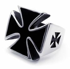 316L Stainless Steel Black Cross MEN'S Biker Cool Rings 8 9 10 11 12 13 14