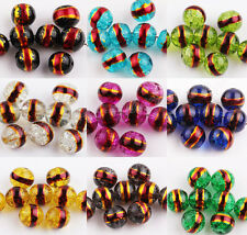 HOT 20/50Pcs Gold Plated Side Round Beads Czech Glass Loose Spacer DIY Beads 8mm