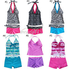 2Pcs Girl Kid Baby Fancy Tankini Bikini Swimsuit Swimming Summer Beach Playing