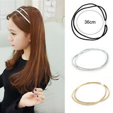 3 Colors Women's Girl Fashion Leather Woven Hair Band Double Braided Headband