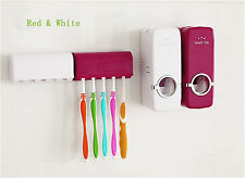 Bathroom Tool White Red Auto Toothpaste Dispenser Wall-Mounted Brush Holder Kit