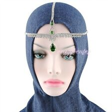Ruby red Head Cross chain Swarovski Crystal Hairwear Muslim Islamic TS6-TS7