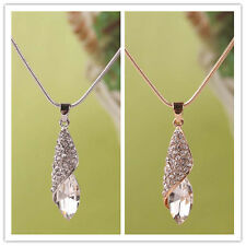 Women 14K Gold Filled Austrian Crystal Pendant Chain Necklace Jewelry In 2 Color