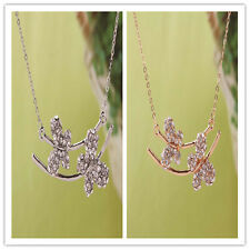 Women Gold Filled Austrian Crystal Butterfly Pendant Chain Necklace In 2 Colors