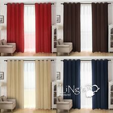 LiNg's Suede Curtain Panel Tie Back Window Grommet Covering Solid Micro Drapes