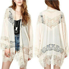 Womens Vintage Boho Crochet Lace Floral Kimono Cardigan Coat Jacket Blouse Tops