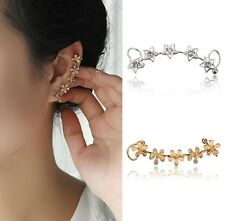 1PC Charm Silver Star Gold Crystal Flower Ear Bone Wrap Clip On Ear Cuff Earring