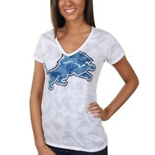 Detroit Lions Women's Sublime Burnout V-Neck T-Shirt - White - NFL
