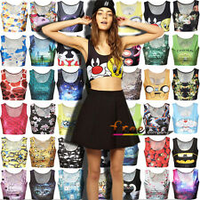 Women Cartoon Midriff Crop Top Singlet Racerback Tank Top Vest T-Shirt Beachwear