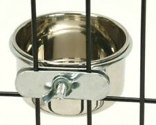 Stainless Steel Cage Coop Clamp Bolt Cup Bird Cat Dog Puppy Food Water Bowl Pet