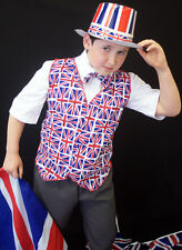 UNION JACK/OLYMPICS/JUBILEE Red/White/Blue Flag Childs Waistcoat & Bow Tie set