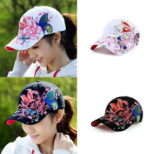 Women Lady Flowers Butterfly Embroidered Golf Hat Adjustable Baseball Cap Summer