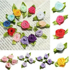 100PCS Wedding Ribbon Rose Flower Satin Decor Bow Appliques Craft Sewing Leaves
