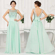 Vintage Long Chiffon Beaded Cocktail Bridesmaid Evening Party Gown Prom Dresses