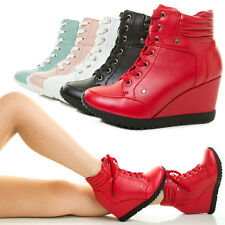 New Womens Fashion Sneaker Wedge Platform Heel High Top Lace Up Ankle Booties US