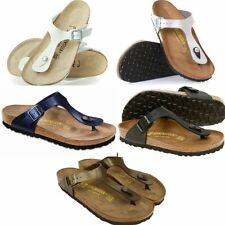 NEW BIRKENSTOCK GIZEH SANDALS SHOES WHITE BLACK SILVER BLUE GOLDEN WOMENS SIZES