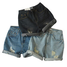 sh44 CFLB Ladies Vintage High Waisted Ripped Denim Shorts Frayed Hem 8 10 12