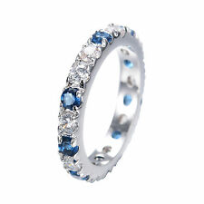 Jewelry Ring Size 6/7/8/9 Blue Sapphire Crystal Women's 10KT White Gold Filled