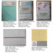 Choose Baby Cot Sheet Set OR Fitted Sheet AQUA WHITE TEDDY
