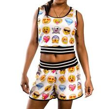 New Cleo Juniour's Sublimated White Emoji Tank Top & Short Set Size S.M.L,XL