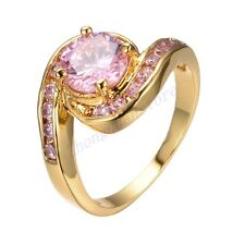 Jewelry Brand Ring Size 7/8/9 Pink Sapphire CZ Brand Women's Yellow Gold Filled