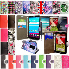 Magnetic PU Leather Wallet Flip Case Cover For LG Mobile Phone With Free Stylus