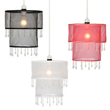 Voile Ceiling Pendant Chandelier Light Lamp Shades Lampshades - Black Red White