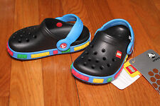 Crocs Black Blue Sandals Shoes Crocband K LEGO 4/5 6/7 child Free Ship NWT