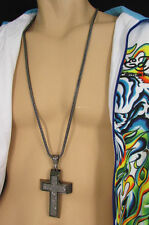 A Men Metal Chains Long Fashion Necklace Silver / Pewter Boarded Cross Pendant