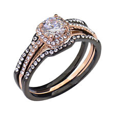 Black/Rose Gold IP Stainless Steel Round Cubic Zirconia Wedding Ring Set sz 5-10