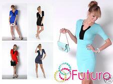 Ladies Elegant Mini Dress V Neck Short Sleeve Bodycon Party Tunic Size 8-12 8474