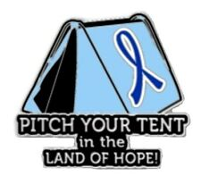 Blue Ribbon Lapel Pin Cancer Awareness Pitch Your Tent in the Land of Hope New