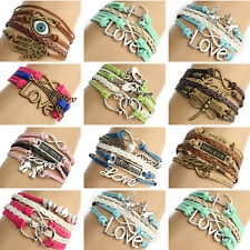 Fashion Women Infinite Multilayer Woven Leather Bracelet Jewelry Bangle Chain