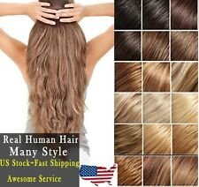 "Hot 8pcs 22"" Full Head 80g Clip In Remy Real Human Hair Extensions Straight US35"