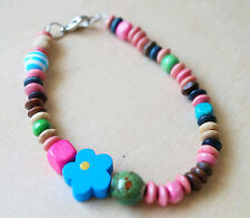BEAUTIFUL HANDMADE BLUE WOOD FLOWER PASTEL ACRYLIC & WOOD BEADS BRACELET/ANKLET