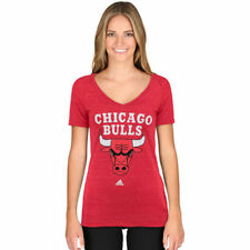 Chicago Bulls Adidas Ladies Primary Logo Triblend V-Neck  T-Shirt - Red