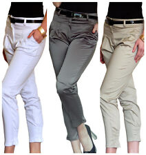 Ladies New Trousers Pants Womens Stretch Cropped Leg Capri Size 8 10 12 14 16