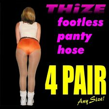 4 pair - Footless Panty Hose - Sheers Solids Athletic Hooters, Cheerleader Style