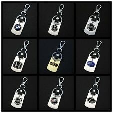 New Metal & Leather Car Auto Logo Key Chain Cars Key Holder Key Fob Keyring