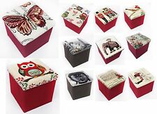 OTTOMAN TAPESTRY DESIGN STOOL FOLDING SEAT CHEST FOLDABLE STORAGE BOX FOOT