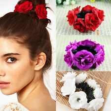 Garland Bracelet Floral Flower Bun Head Knot Hair Top Scrunchie Band Bridal