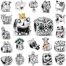 925 Sterling Silver Charm Animals Cat Horse Frog Owl Fit 3mm European Bracelet