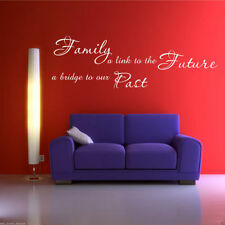 FAMILY PAST FUTURE Wall Art Sticker Lounge Quote Decal Mural Transfer Stickers