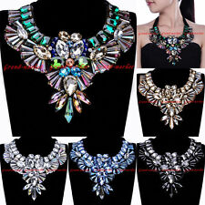 Fashion Charm Chunky Chain Crystal Glass Choker Statement Pendant Bib Necklace