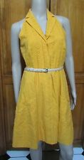 Jessica Simpson Yellow Halter Eyelet Pocket Knee Length Dress Multiple Size NWT