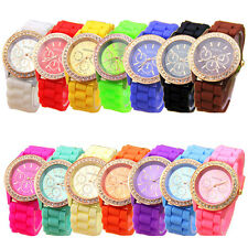 Women Watch Geneva Analog Quartz Wrist Watch Jelly Golden Crystal Silicone Watch