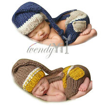 Brown Baby Girl Boy Crochet Knit short overall + Hat Photo Clothing Outfit Set